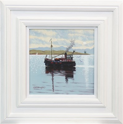 Lot 626-CLYDE PUFFER, AN OIL BY FRANK COLCLOUGH