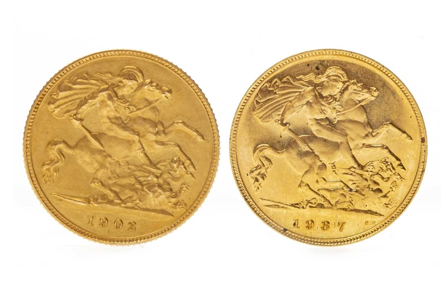 Lot 591-TWO GOLD HALF SOVEREIGNS, 1902 AND 1937