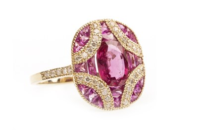 Lot 200A-A RUBY, PINK SAPPHIRE AND DIAMOND RING