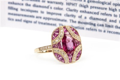 Lot 200 - A RUBY, PINK SAPPHIRE AND DIAMOND RING