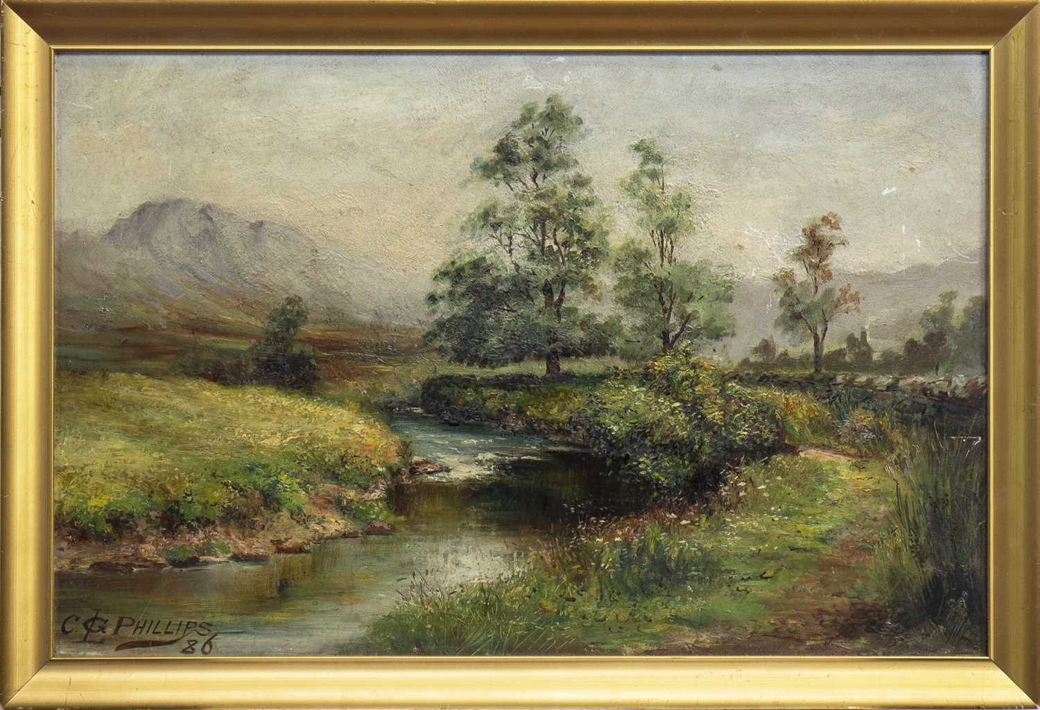 Lot 435-RURAL SCENE, AN OIL BY CHARGES GUSTAV LOUIS PHILLIPS