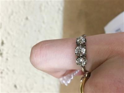 Lot 204-A DIAMOND THREE STONE RING
