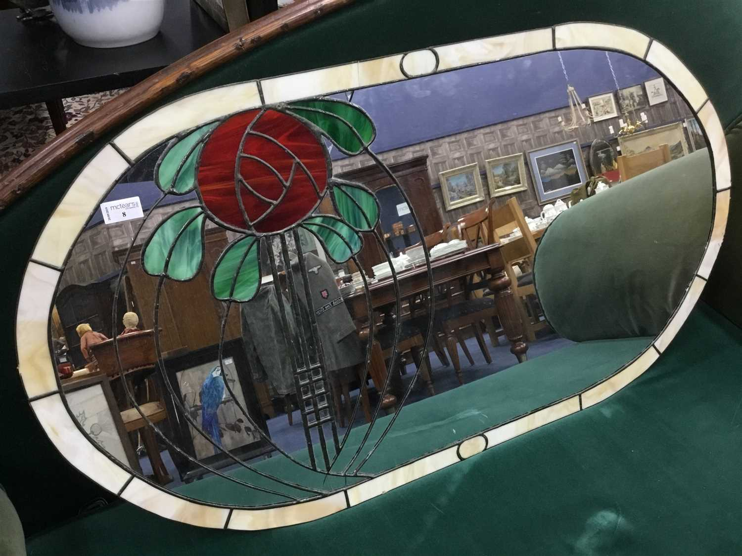 Lot 8-A LARGE OVAL OVER MANTEL MIRROR