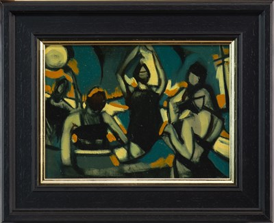 Lot 554-THE SUN WORSHIPPERS, A MIXED MEDIA BY JAMIE O'DEA