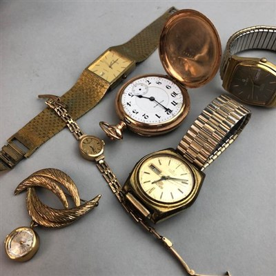 Lot 12-A LOT OF FOUR WRIST WATCHES, A POCKET WATCH AND A BROOCH WATCH