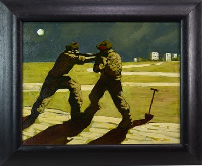 Lot 529-THE BLACK WATCH, AN OIL BY DONALD MCLEOD