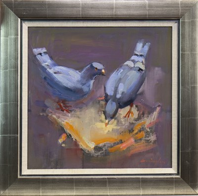 Lot 532-TWO PIGEONS AND A PIZZA, AN OIL BY JOHN CUNNINGHAM