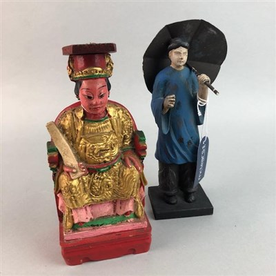 Lot 37 - A LOT OF TWO 20TH CENTURY CHINESE PAINTED CARVED WOOD FIGURES