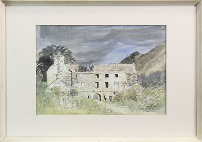 Lot 559-MENSTRIE CASTLE, A MIXED MEDIA BY TOM HOVELL SHANKS