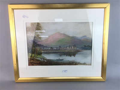 Lot 56 - A LOT OF TWO WATERCOLOURS, AN ETCHING AND AN EASEL