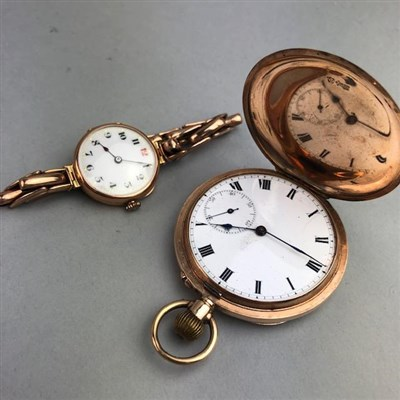 Lot 59 - A LADY'S NINE CARAT GOLD WRIST WATCH AND PLATED POCKET WATCH