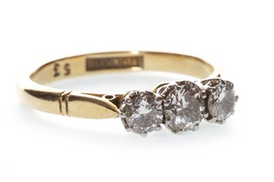 Lot 54-A DIAMOND THREE STONE RING