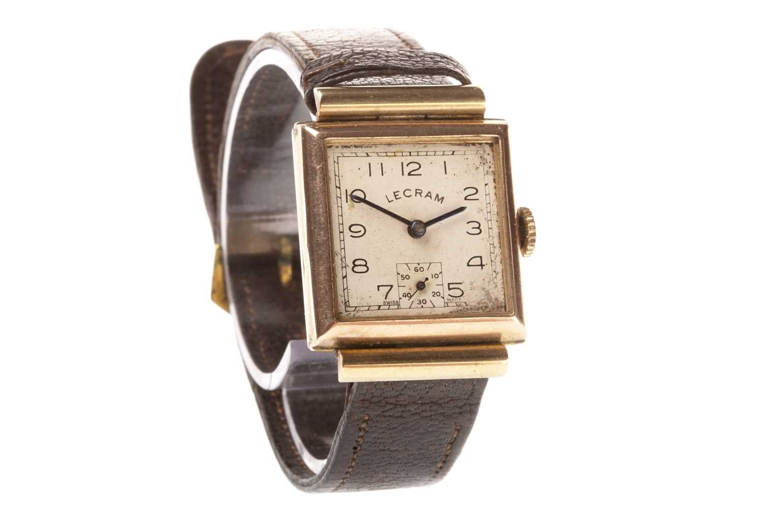 Lot 767-A GENTLEMAN'S ART DECO GOLD MANUAL WIND WRIST WATCH