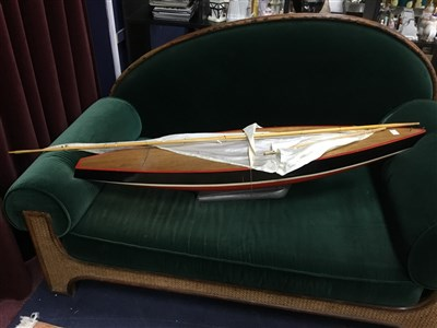 Lot 76 - A LARGE WOODEN MODEL OF A YACHT
