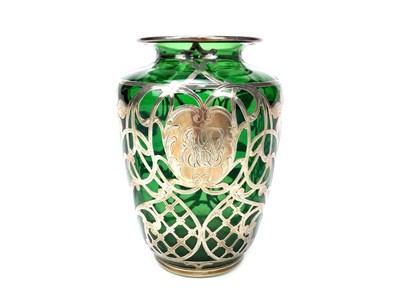 Lot 1261-AN ART NOUVEAU SILVER OVERLAID GREEN GLASS VASE
