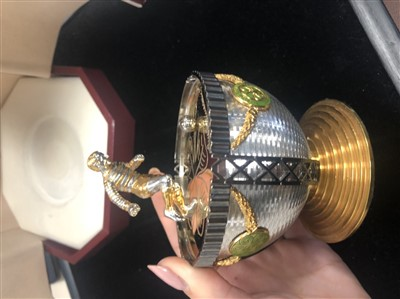 Lot 1825-THE JIMMY JOHNSTONE FABERGE EGG BY SARAH FABERGE