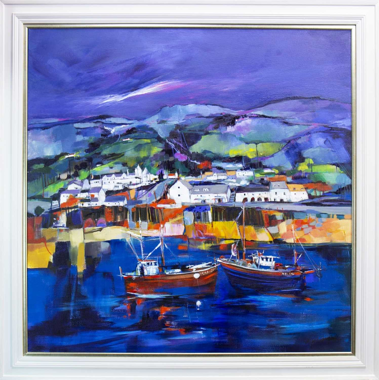 Lot 560-ULLAPOOL, AN ACRYLIC BY SHELAGH CAMPBELL