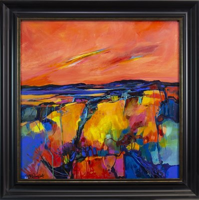 Lot 564-SUNSET SONG, AN ACRYLIC BY SHELAGH CAMPBELL