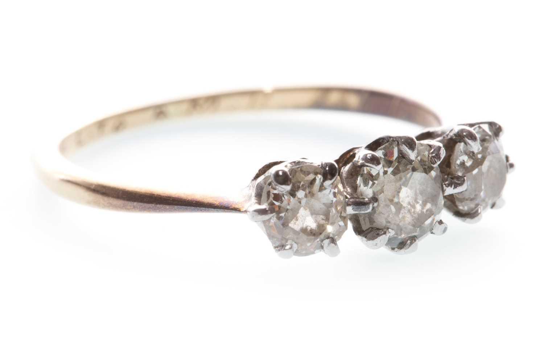 Lot 3-A DIAMOND THREE STONE RING