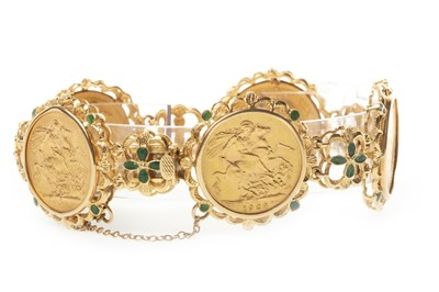 Lot 502-A GOLD SOVEREIGN SET BRACELET