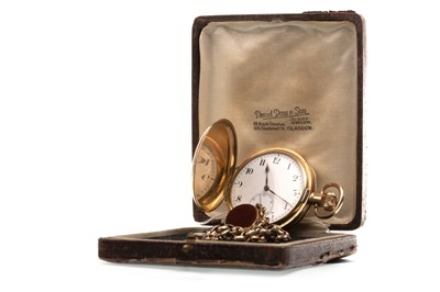 Lot 783-A GOLD PLATED FULL HUNTER POCKET WATCH AND CHAIN
