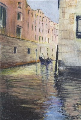 Lot 667-REFLECTIONS IN VENICE, A PASTEL BY ALICK GRAY