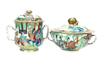 Lot 1055-A LOT OF TWO CHINESE FAMILLE ROSE LIDDED POTS