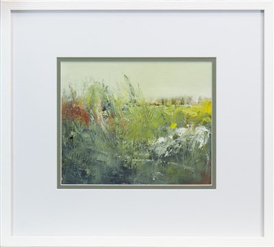 Lot 694 - AUTUMN GRASSES, A MIXED MEDIA BY MAY BYRNE