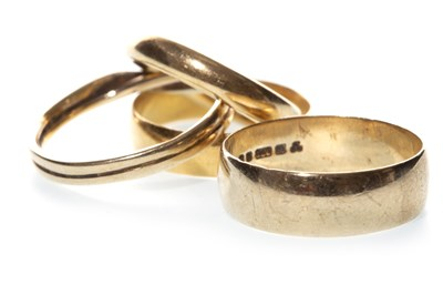 Lot 57-FOUR WEDDING BANDS