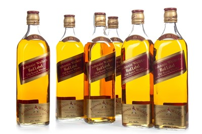 Lot 402-SIX BOTTLES OF JOHNNIE WALKER RED LABEL