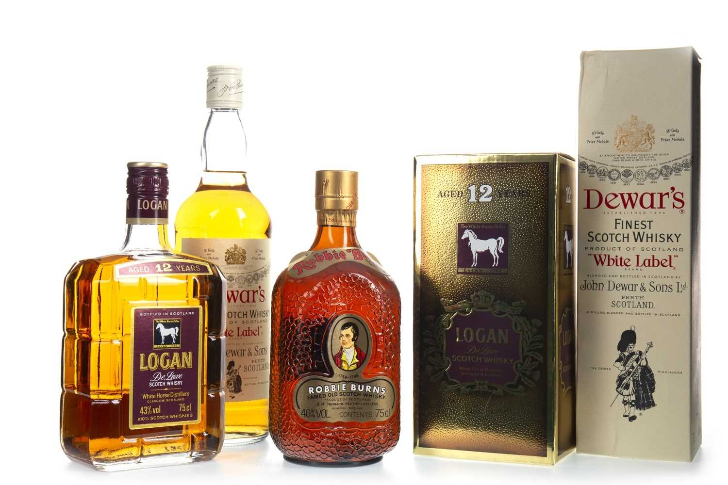 Lot 405-DEWAR'S WHITE LABEL, ROBBIE BURNS AND LOGAN AGED 12 YEARS