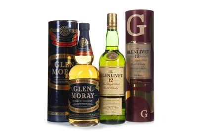 Lot 307-GLEN MORAY CHARDONNAY FINNISH AND GLENLIVET 12 YEARS OLD