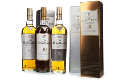 Lot 24-ONE MACALLAN 10 YEARS OLD SHERRY WOOD AND TWO FINE OAK 10 YEARS OLD