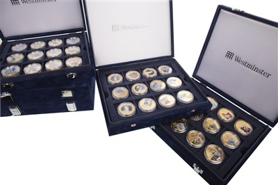 Lot 542-FIVE GOLD PLATED COIN SETS