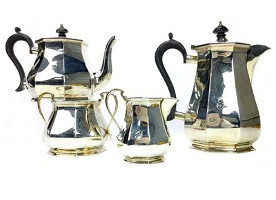 Lot 876 - A GEORGE V SILVER FOUR PIECE TEA AND COFFEE SERVICE