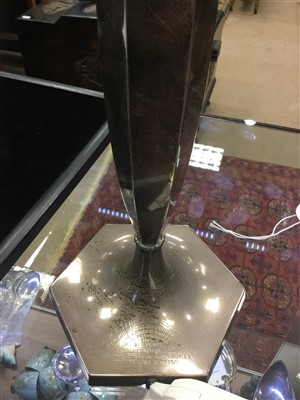 Lot 878 - A GEORGE V SILVER CANDLESTICK TABLE LAMP