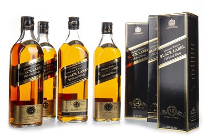 Lot 409-FOUR BOTTLES OF JOHNNIE WALKER BLACK LABEL 12 YEARS OLD