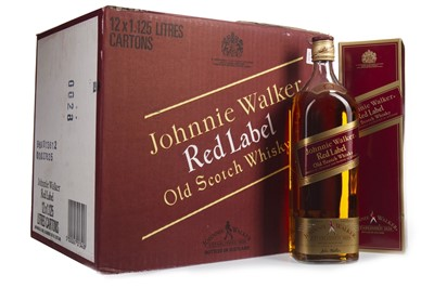 Lot 27-TWELVE 1.125 LITRE BOTTLES OF JOHNNIE WALKER RED LABEL