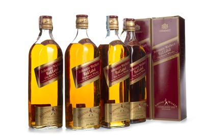 Lot 410-FOUR BOTTLES OF JOHNNIE WALKER RED LABEL