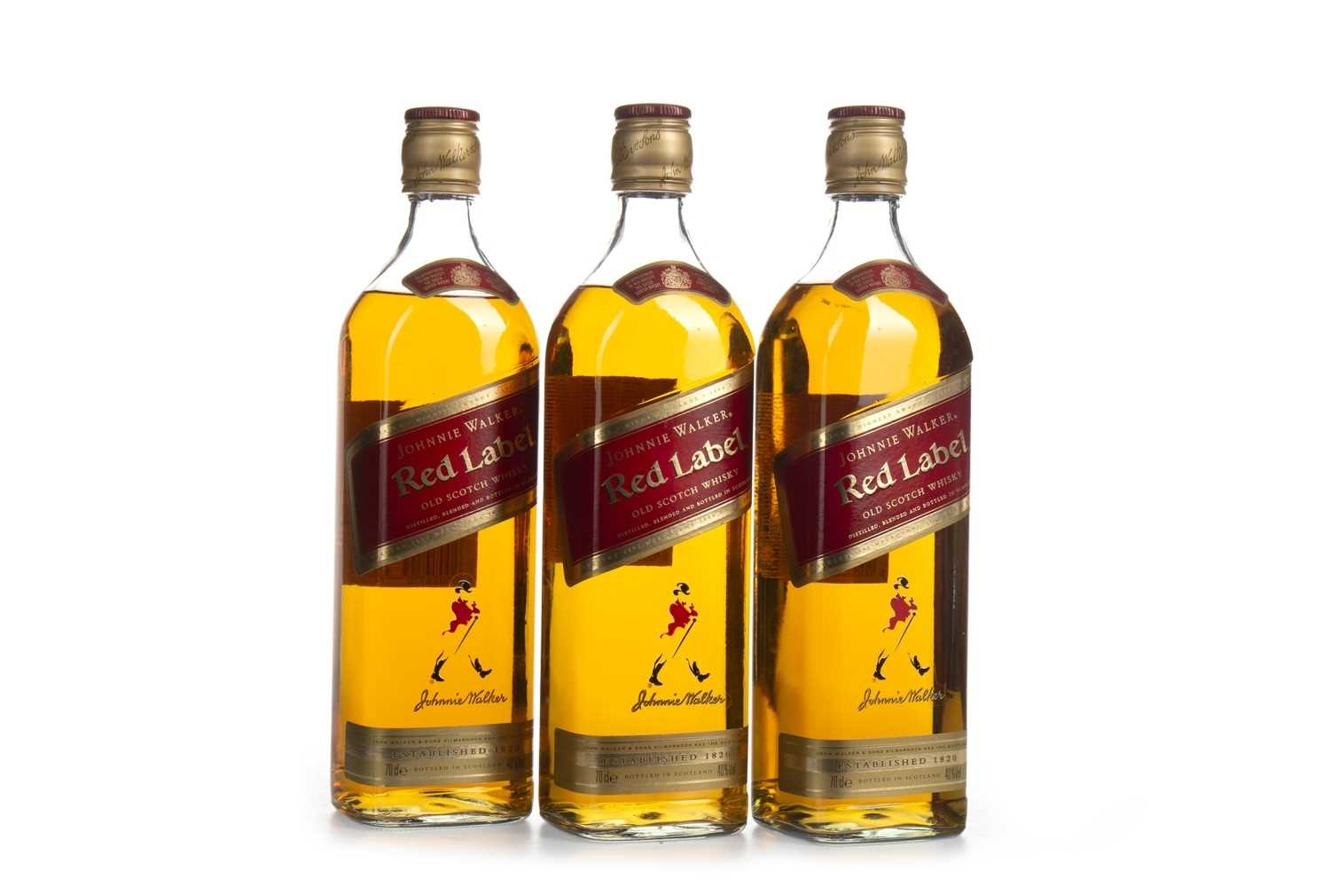 Lot 411-THREE BOTTLES OF JOHNNIE WALKER RED LABEL
