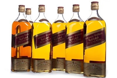 Lot 414-SIX 1.125 LITRE BOTTLES OF JOHNNIE WALKER RED LABEL