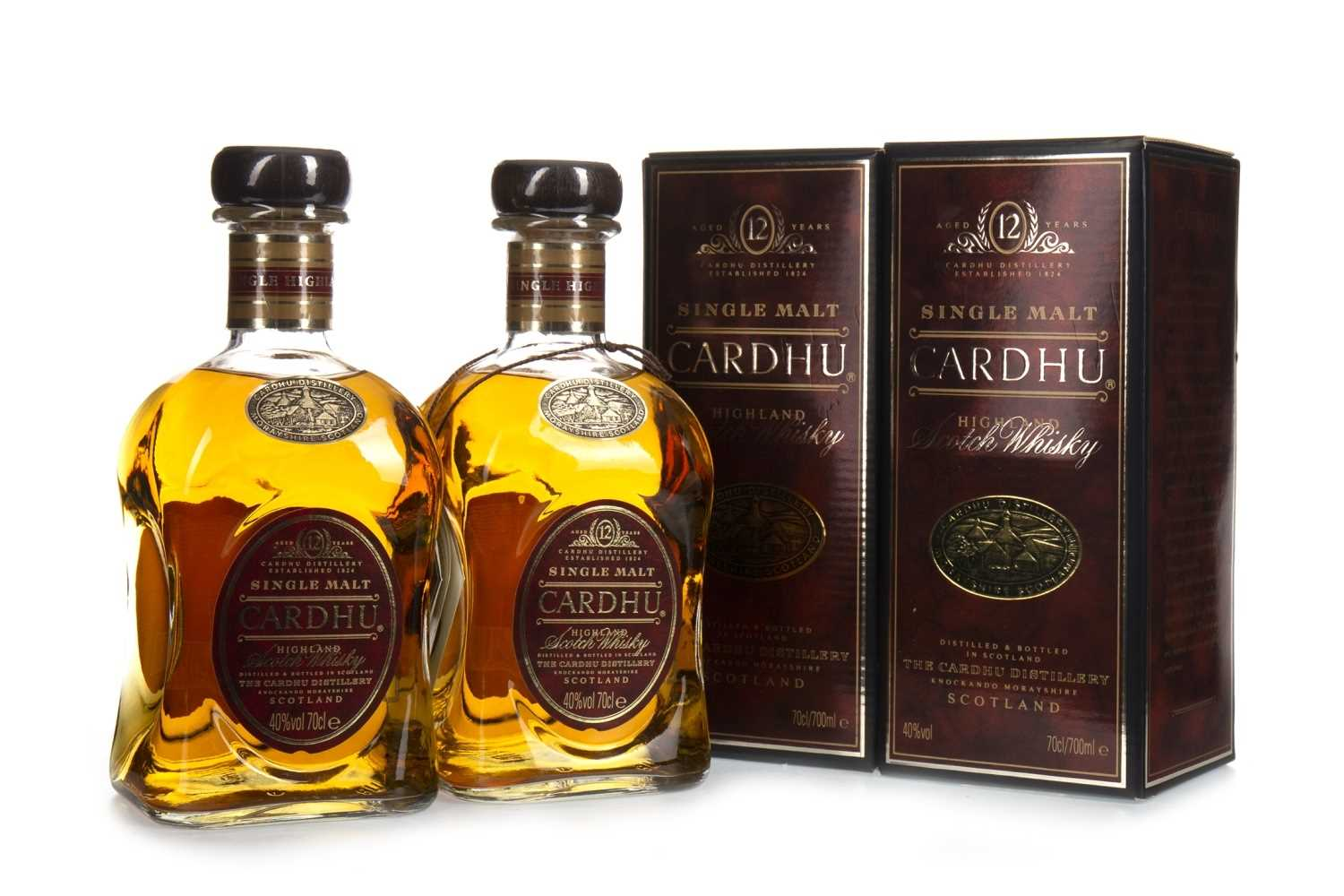 Lot 308-TWO BOTTLES OF CARHDU 12 YEARS OLD