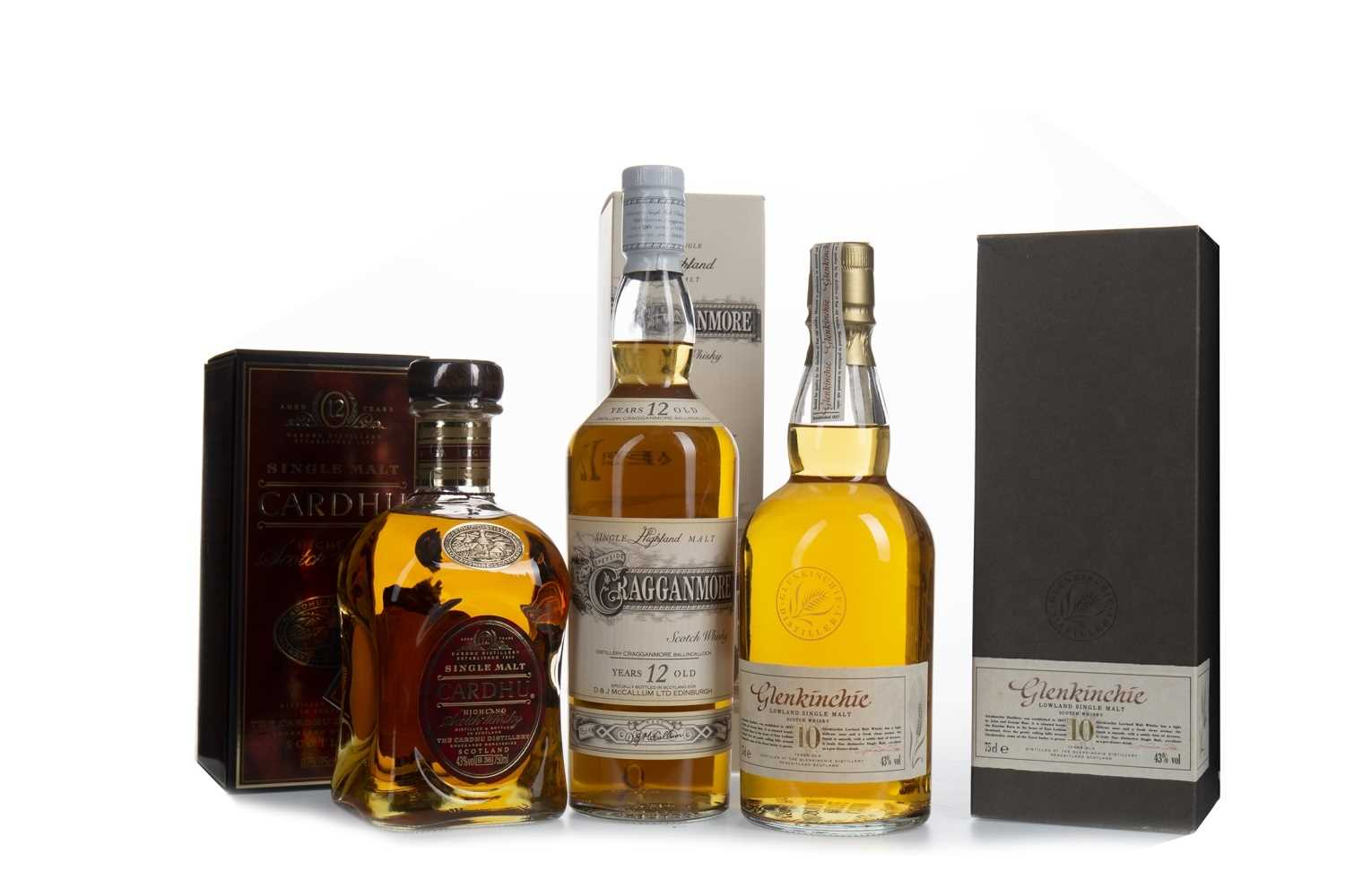 Lot 310-CARDHU 12 YEARS OLD, CRAGGANMORE 12 YEARS OLD AND GLENKINCHIE 10 YEARS OLD