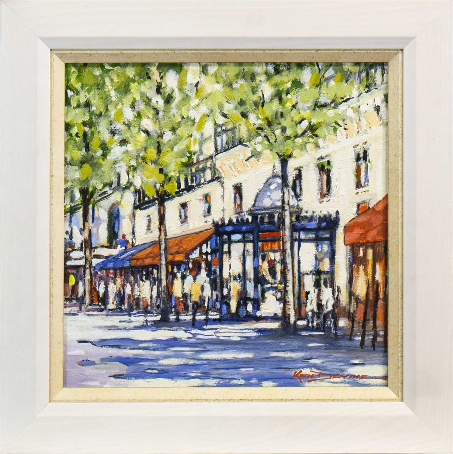 Lot 698-PARIS STREET SCENE, AN OIL BY KEN DEVINE