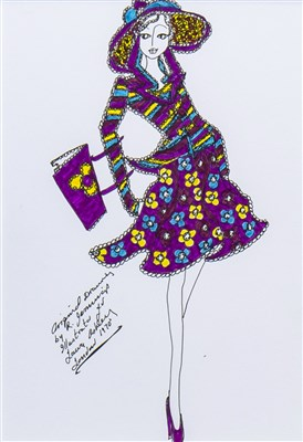 Lot 703-AN ORIGINAL ILLUSTRATION OF DESIGNS FOR LAURA ASHLEY BY ROZ JENNINGS