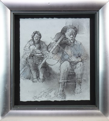 Lot 540-BLIND MUSICIANS, FADO SINGERS, A MIXED MEDIA BY ANDA PATERSON