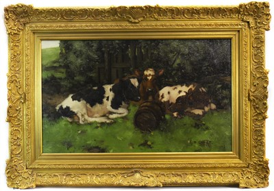 Lot 441-THREE CALVES RESTING, AN OIL BY DAVID GAULD