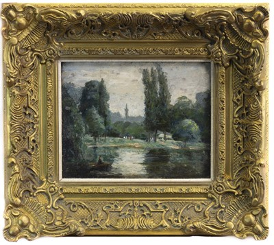 Lot 442-BOATING ON THE POND, AN OIL BY ALEXANDER JAMIESON