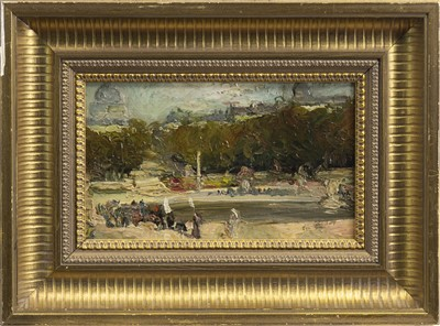 Lot 443-FIGURES BY A POND, AN OIL BY ALEXANDER JAMIESON