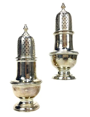 Lot 900 - A PAIR OF SILVER SUGAR CASTERS